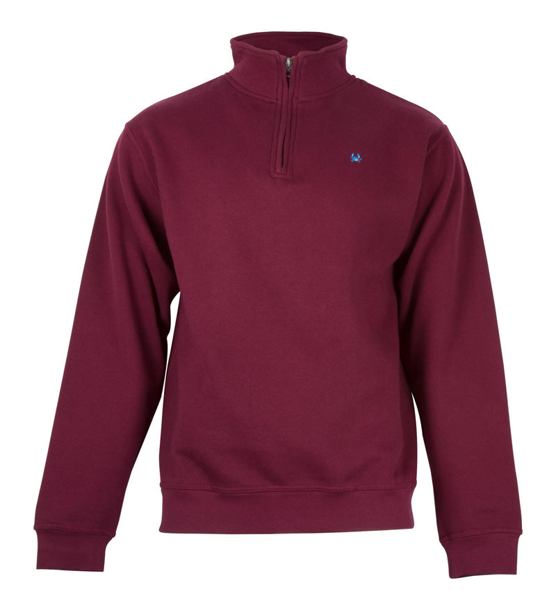 Maroon Quarter Zip Pullover - Crab Embroidery