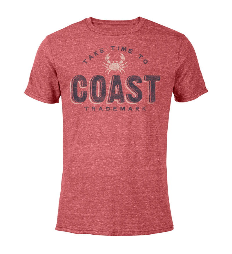 Take Time to Coast Cool T-Shirt - red snow heather front