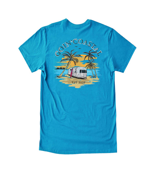 travel the coast cool tee back - beach camping goin coastal