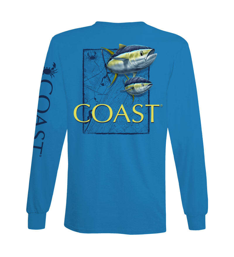 tuna map long sleeve classic t-shirt - blue - back