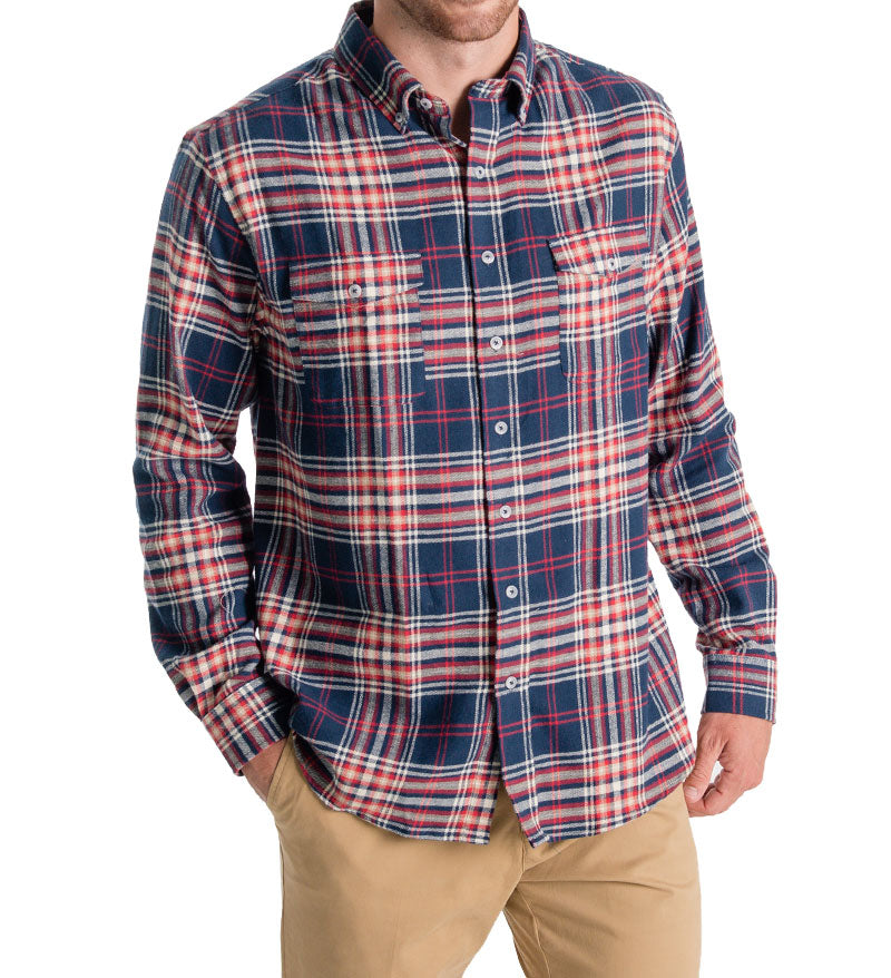 unisex flannel shirt - redbud front - mens flannel