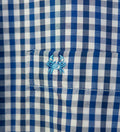 unisex button down shirt - plaid dress shirt - detail crab embroidery