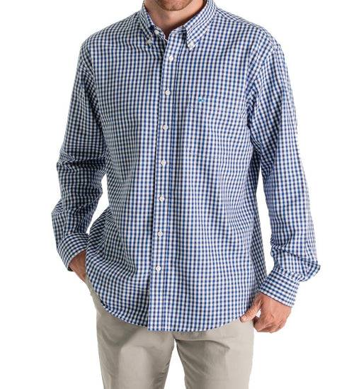 unisex button down shirt - plaid dress shirt - front