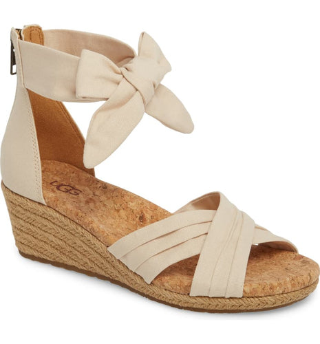 Ugg Traci Wedge Cream Canvas Crisscross Back Zip Espadrille Sandal 8M