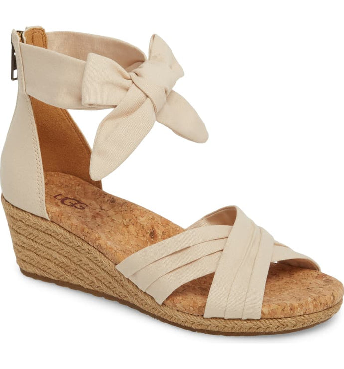 Ugg Traci Wedge Cream Canvas Crisscross Back Zip Espadrille Sandal 6M