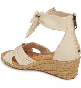 Ugg Traci Wedge Cream Canvas Crisscross Back Zip Espadrille Sandal 8.5M