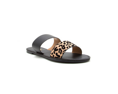 Stuck On Leopard Sandal Slides