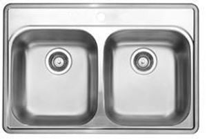 Blanco 400001 Stainless Steel - Double Bowl 20G 1 Hole Kitchen Sink - Topmount