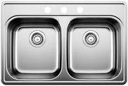 Blanco 400003 Stainless Steel - Double Bowl 20G 3 Hole Kitchen Sink - Topmount - 1165786 N