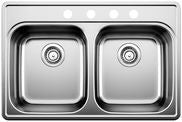Blanco 400004 Stainless Steel - Double Bowl 20G 4 Hole Kitchen Sink - Topmount - 1143286 N