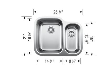 Blanco 400748 Stainless Steel - 1 1/2 Bowl 18G Kitchen Sink - Undermount - 1132918 N