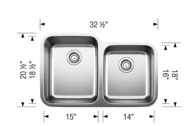 Blanco 401026 Stainless Steel - 1 3/4 Bowl 18G Kitchen Sink - Undermount - 1187195 N