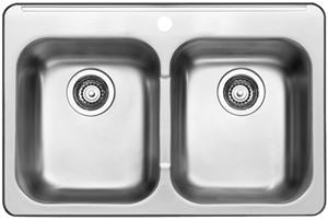 Blanco 401124 Stainless Steel - Double Bowl 20G 1 Hole Kitchen Sink - Topmount - 1187189 N