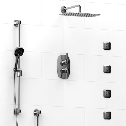 "Riobel KIT483VYC Chrome - 4 Way Thermostatic/Pressure Balance 3/4"" Coaxial Shower System - 1198744 N"