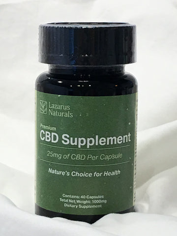 Lazarus Naturals Premium CBD Supplement ~ 40 Capsules