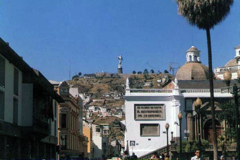 A closer view of Our Lady of Quito on top of the mountain on left.