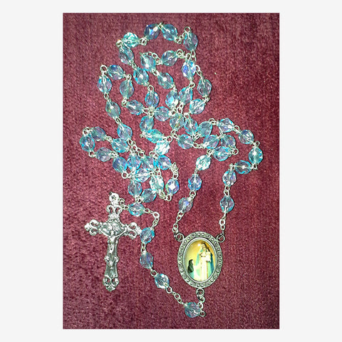 Aqua Glass Bead Rosary of OLOGS