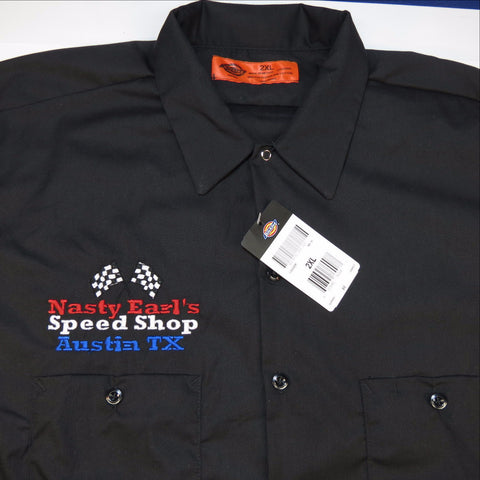 Dickies Embroidered NASTY EARL'S SPEED SHOP Austin Texas Garage Mechanic Racing Work Shirt