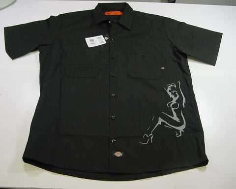 Dickies Embroidered Sexy Pin Up Girl Garage Mechanic Racing Work Shirt