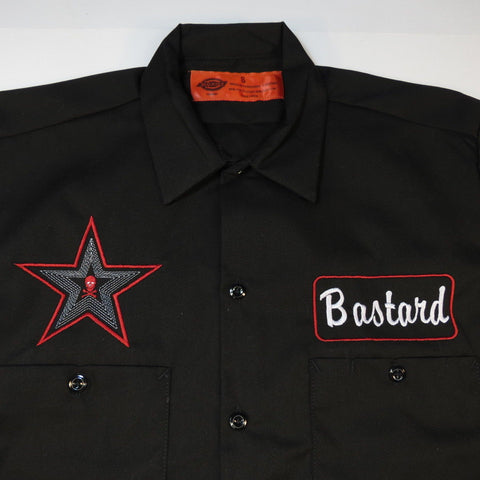 Dickies Embroidered 'Bastard Name' and Skull & Crossbones Garage Mechanic Racing Work Shirt