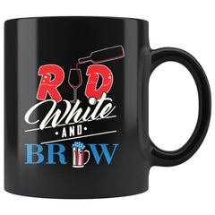 4th July Independance Day Mug Red White And Brew 11oz Black Coffee Mugs