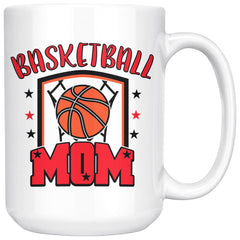 Basketball Mom 15oz White Coffee Mugs