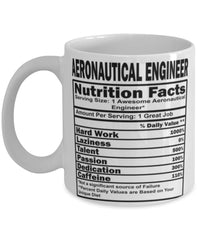 Funny Aeronautical Engineer Nutritional Facts Coffee Mug 11oz White