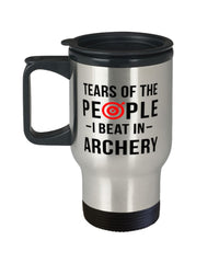 Funny Archer Mug Tears Of The People I Beat In Archery Travel Mug 14oz Stainless Steel
