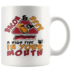 Funny Bacon Mug Bacon Beer High Five In Your Mouth 11oz White Coffee Mugs