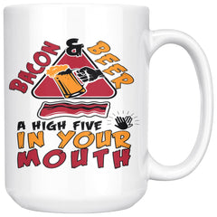 Funny Bacon Mug Bacon Beer High Five In Your Mouth 15oz White Coffee Mugs