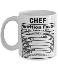Funny Chef Nutritional Facts Coffee Mug 11oz White