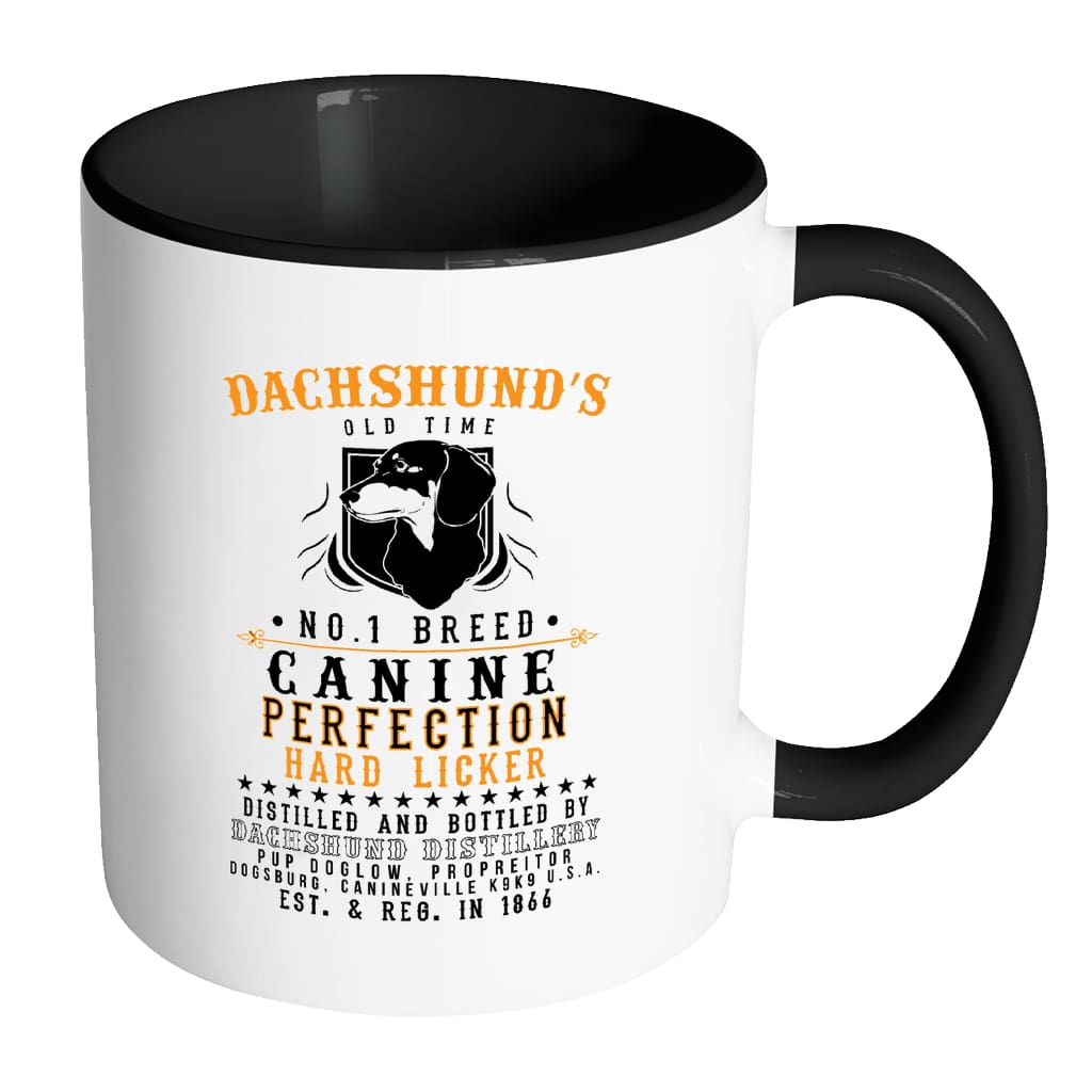 Funny Dachshund Mug Dachshund's Old Time No. 1 White 11oz Accent Coffee Mugs