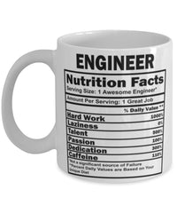Funny Engineer Nutritional Facts Coffee Mug 11oz White