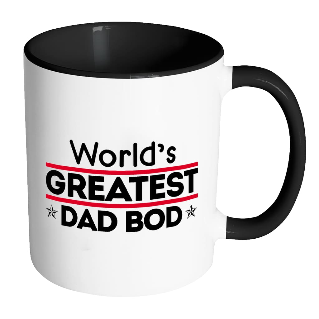 Funny Father Mug World's Greatest Dad Bod White 11oz Accent Coffee Mugs