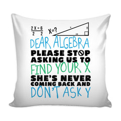 Funny Math Graphic Pillow Cover Dear Algebra Stop Asking To Find Your X