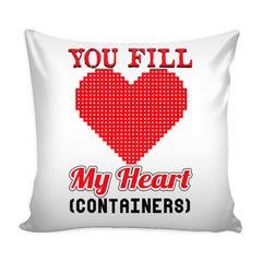 Retro Gamer Gaming Graphic Pillow Cover You Fill My Heart Containers