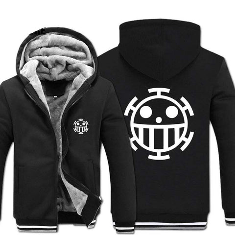 One Piece Thick Winter Zipper Anime Hoodie