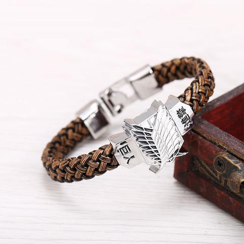 attack on titan leather bracelet black