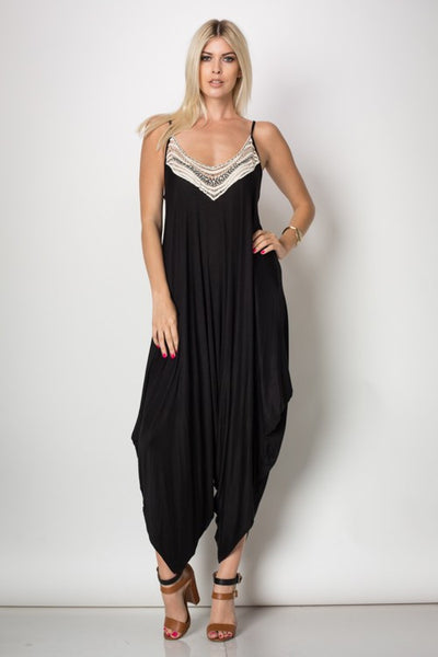 Front Trimmed Harem Jumpsuit, Jumpsuit - Eleven Oh Two