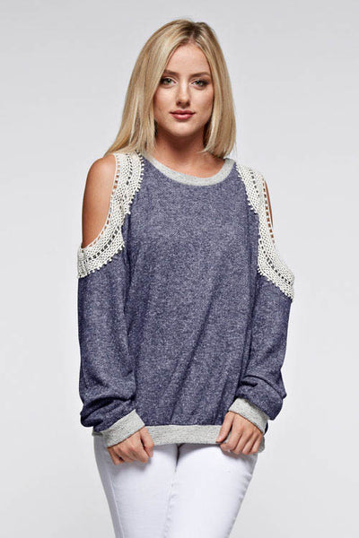 Lace Open-Shoulder Top, Top - Eleven Oh Two