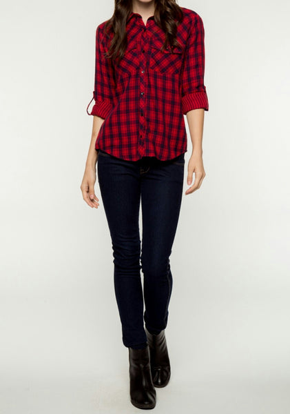 Boyfriend Plaid Shirt, Top - Eleven Oh Two