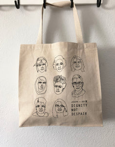 J+S for Dignity not Despair Tote Bag