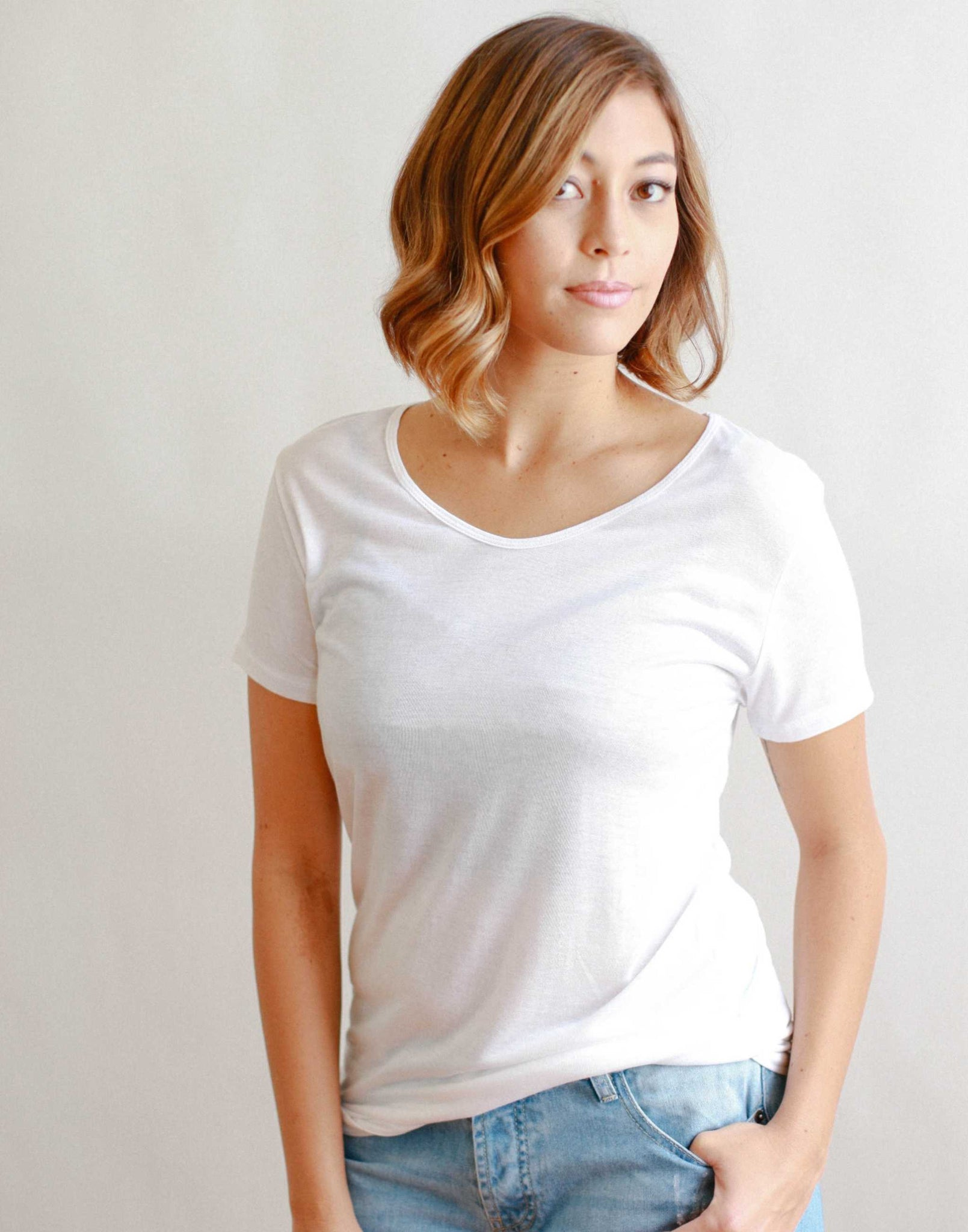 Sample Sale- Women's Slouchy Tee, White, Small/Medium