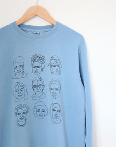 3x3 Oversized 90's Crewneck Sweater, Vintage Summer Blue