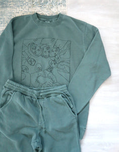 Vintage Green Sweater and Jogger Sweatpant Set