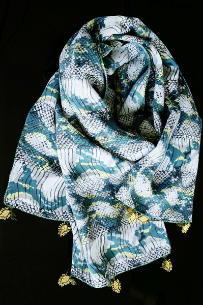 GiGi Collection silk w/ lace - green&yellow&black&white&teal with yellow&black lace