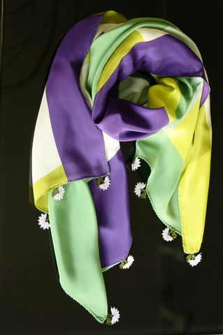GiGi Collection silk w/ lace - green&purple&white&yellow with white&green lace