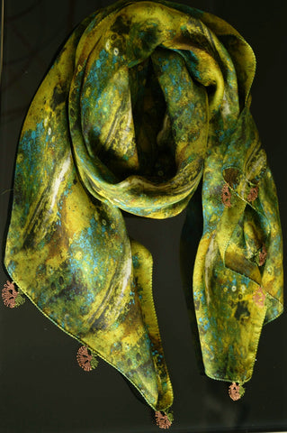 GiGi Collection silk w/ lace - green&black&yellow&teal&brown with brown&green lace
