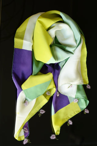 GiGi Collection silk w/ lace - green&purple&white&yellow with purple&white&green lace