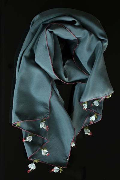 GiGi Collection silk scarf with lace -  Dark teal with red & light blue  lace flowers